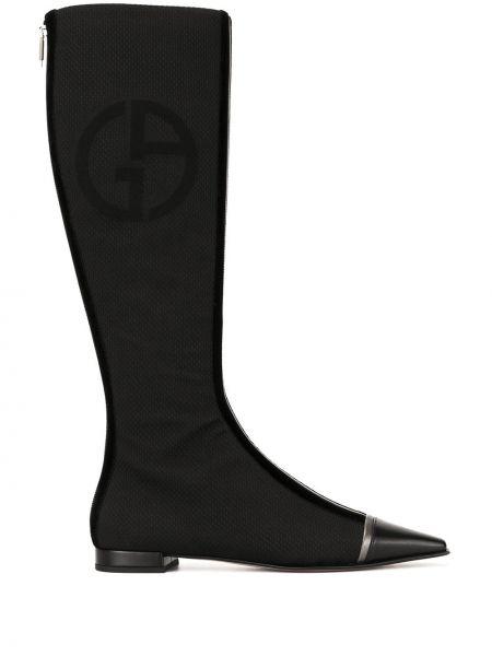 Черные кожаные сапоги на каблуке Giorgio Armani