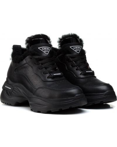 Кроссовки с мехом - черные Ditas
