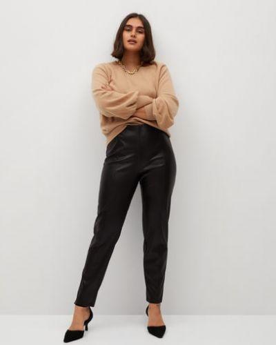 Кожаные черные брюки эластичные Mango