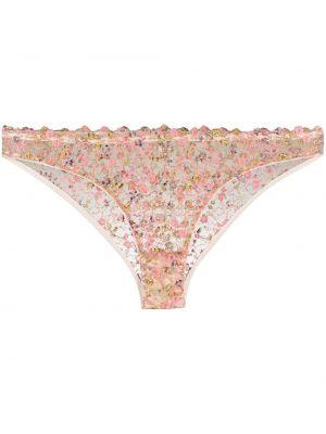 Шелковые розовые шорты прозрачные с низкой посадкой Gilda & Pearl