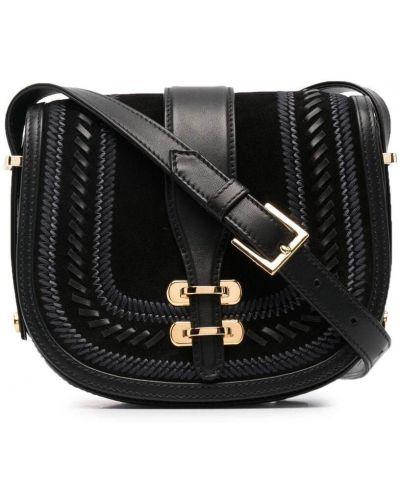 Черный кожаный сумка на плечо с карманами Alberta Ferretti