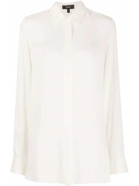 Шелковая прямая рубашка с воротником с длинными рукавами Theory