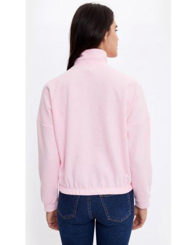 Розовый свитер на молнии с высоким воротником Defacto