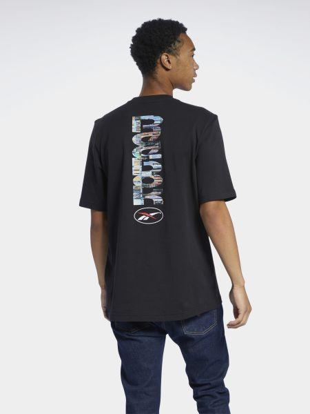 Свободная трикотажная черная футболка Reebok
