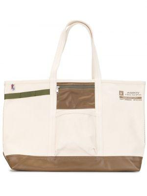 Парусиновая белая сумка-тоут на молнии с карманами As2ov