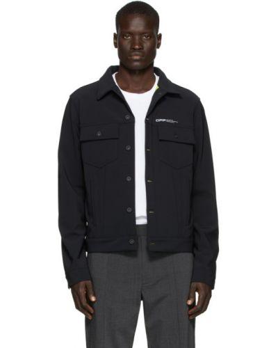 Z rękawami czarny długa kurtka z mankietami prążkowany Off-white