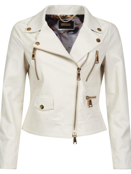 Кожаная куртка на молнии - белая Albano