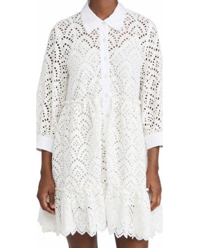 Белое платье с декольте на бретелях Sundress