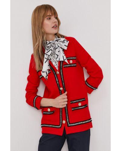 Czerwony długi sweter bawełniany zapinane na guziki Pinko