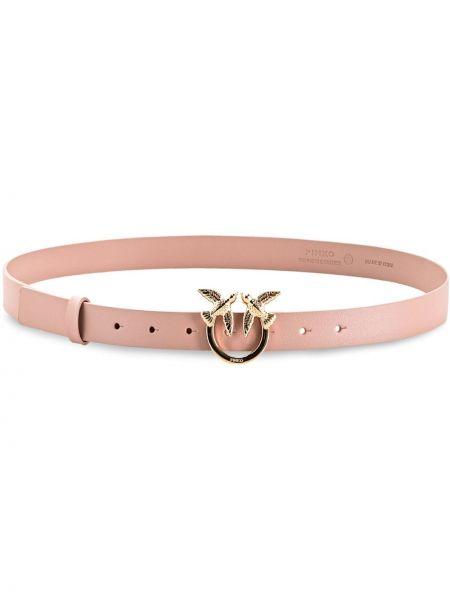 Кожаный розовый ремень с пряжкой Pinko