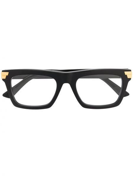 Золотистые черные очки прямоугольные прозрачные Bottega Veneta Eyewear