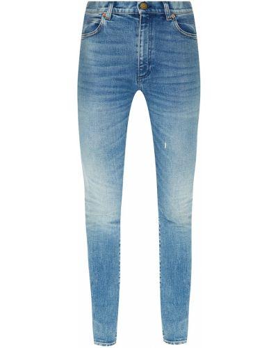 Хлопковые зауженные джинсы-скинни с нашивками с карманами Gucci