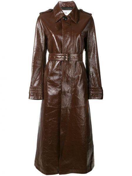 Кожаное пальто - коричневое Ami Paris