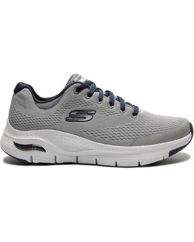 Серые кроссовки на шнуровке сетчатые Skechers