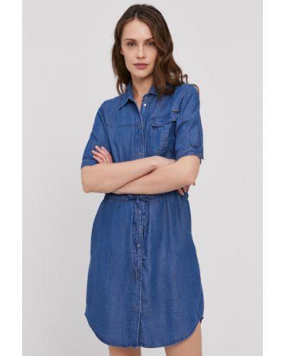 Niebieska sukienka jeansowa krótki rękaw materiałowa Pepe Jeans