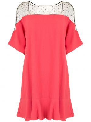 Różowa sukienka mini krótki rękaw z wiskozy Redvalentino