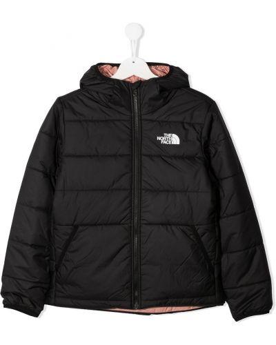 Текстильная классическая черная куртка с капюшоном двусторонняя The North Face Kids