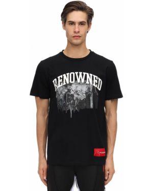 Prążkowany czarny t-shirt bawełniany Renowned La