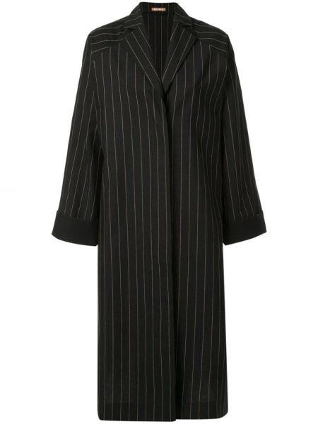 Черное шерстяное пальто классическое на пуговицах с лацканами Nehera
