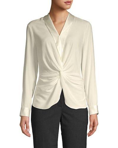 Шелковая черная блузка с воротником Donna Karan