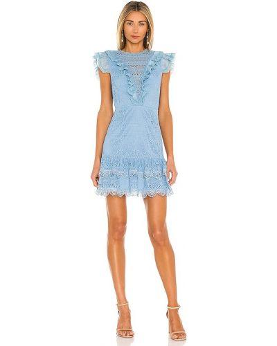 Хлопковое кружевное синее платье мини Saylor
