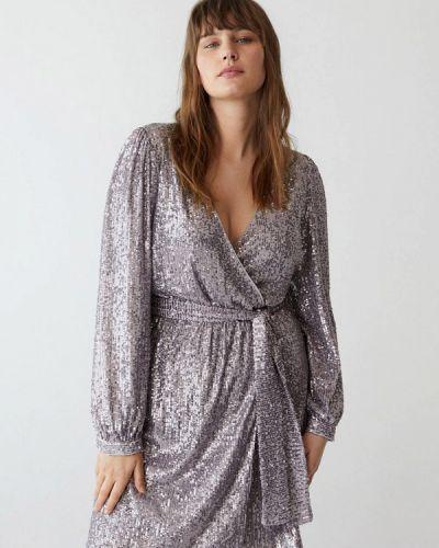 Фиолетовое платье с запахом Violeta By Mango