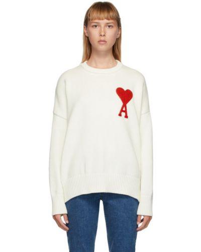 Белый шерстяной свитер с воротником с манжетами Ami Alexandre Mattiussi