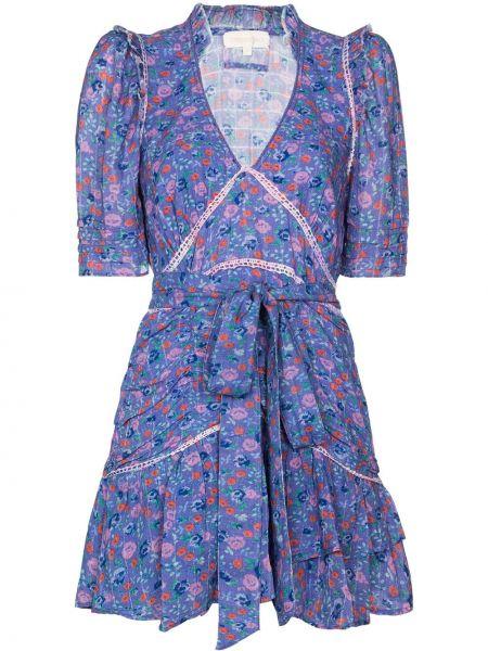 Синее расклешенное платье мини с V-образным вырезом с короткими рукавами Loveshackfancy