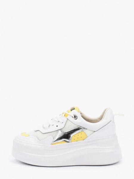 Белые текстильные кроссовки на платформе на танкетке Dino Ricci Trend