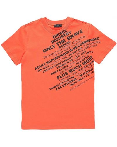 T-shirt z printem - pomarańczowa Diesel