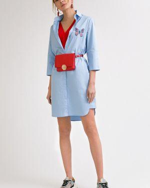 Летнее платье с вышивкой с отложным воротником Emka