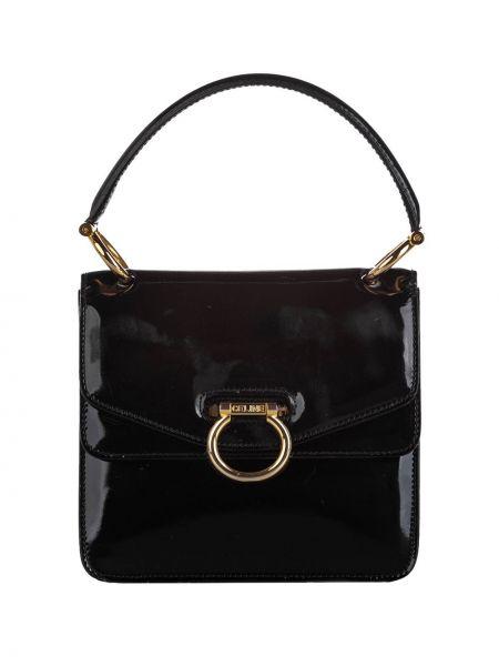 Кожаная лаковая черная сумка-тоут с пряжкой Céline Pre-owned