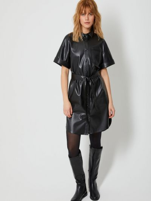 Черное платье мини с поясом с короткими рукавами Sela