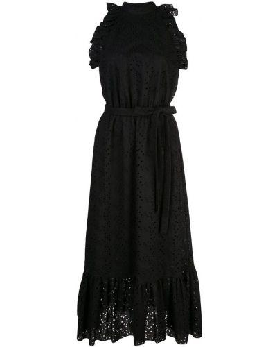 Черное расклешенное платье миди Robert Rodriguez Studio