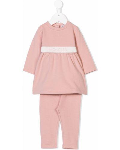 Спортивный костюм розовый эластичный Moncler Kids