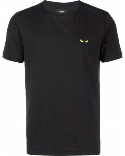 Koszula krótkie z krótkim rękawem prosto z haftem Fendi