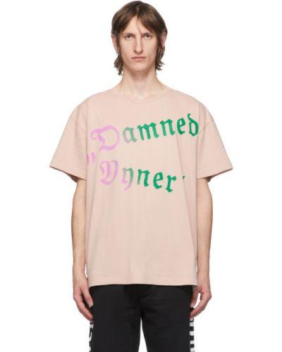 Хлопковая с рукавами розовая рубашка с короткими рукавами с воротником Vyner Articles