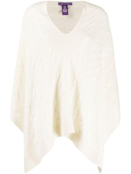 Кашемировое белое пончо с V-образным вырезом Ralph Lauren