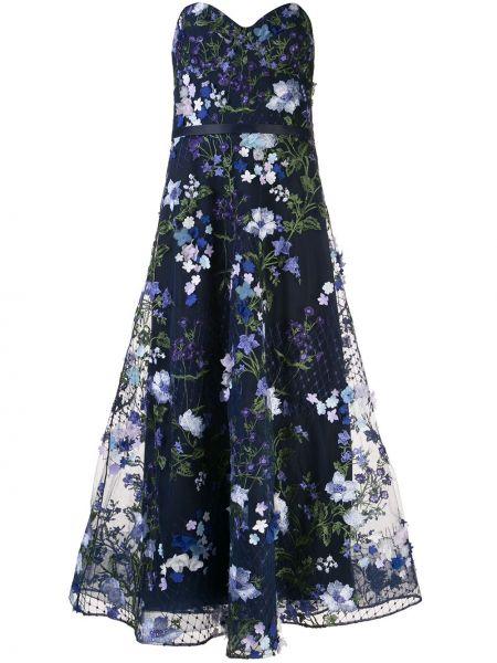 Вечернее платье с цветочным принтом расклешенное Marchesa Notte