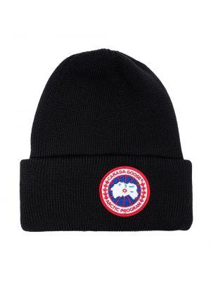Шерстяная черная шапка с отворотом Canada Goose