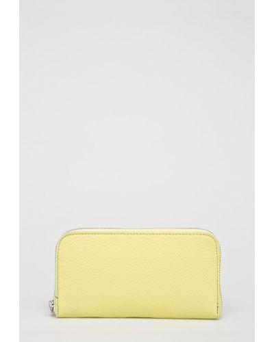 Кожаный кошелек на молнии желтый Answear
