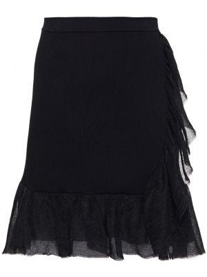 Вязаная черная юбка мини из вискозы Sandro