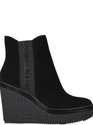 Ботинки на платформе кожаные на каблуке Calvin Klein Jeans