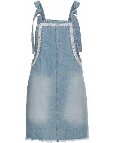 Платье мини джинсовое с бахромой Bonprix