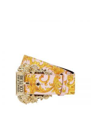 Różowy pasek skórzany Versace Jeans Couture