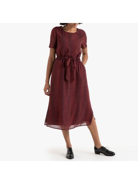 Платье мини с прозрачными рукавами с поясом La Redoute
