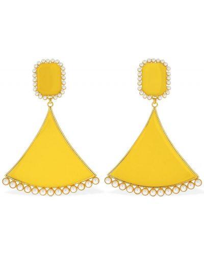 Żółte kolczyki sztyfty perły Rowen Rose