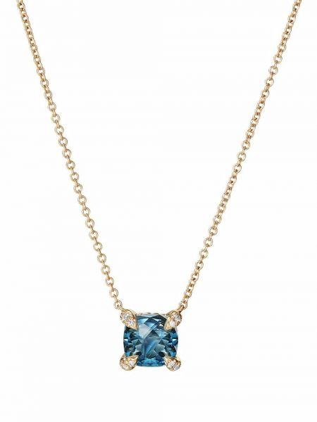 Niebieski złoty naszyjnik łańcuch David Yurman