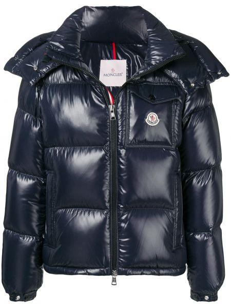 Пуховая синяя куртка с капюшоном на молнии с карманами Moncler