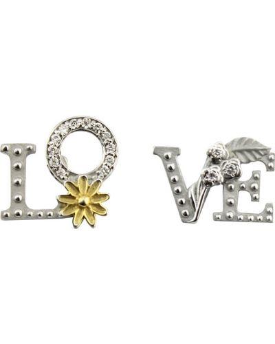 Золотые серьги с бриллиантом Leo Totti